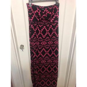 Rue 21 pink and black print strapless maxi dress